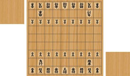 Image illustration of shogi game (Shogi board and pieces) Ilustracje wektorowe