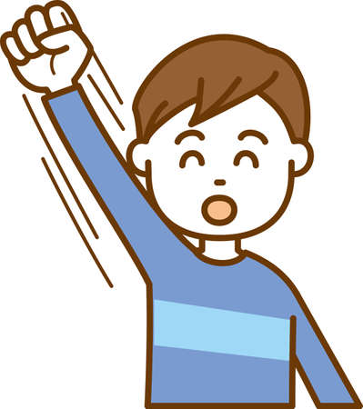 Image illustration of a boy cheerfully raised his hand
