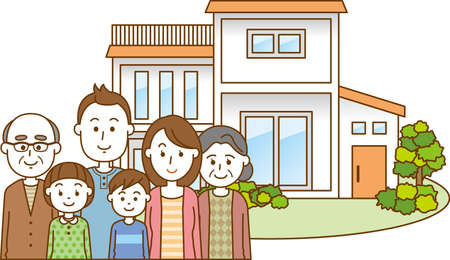 Image of a single-family house with a family of three generations