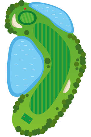 a golf course Image illustration of a bird's eye view of a golf course (1 hole)