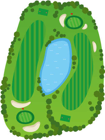 a golf course Image of a bird's eye view of the golf course (2 holes)