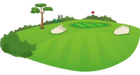 a golf course Image illustration of the green from the fairway