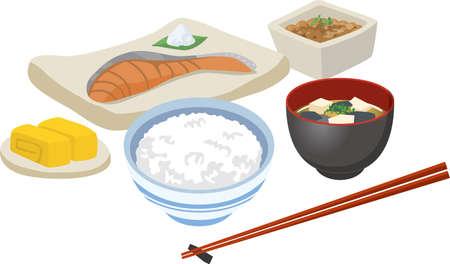 Image illustration of breakfast (Japanese food)