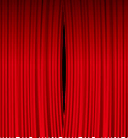 Image illustration of a red curtain that is a little open  イラスト・ベクター素材