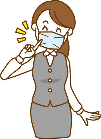 Image illustration of a woman encouraging her to wear a mask
