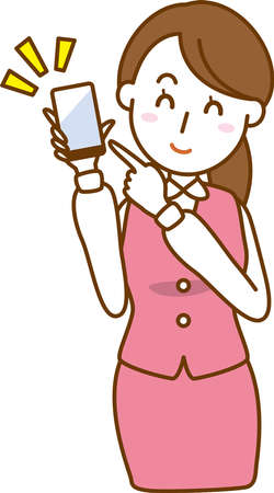 Image illustration of an office lady who has a smartphone