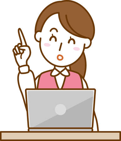 Image illustration of office lady pointing (laptop)