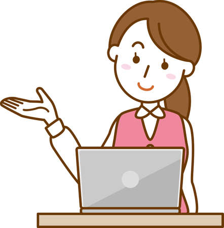 Image illustration of office lady posing for guidance (laptop)  イラスト・ベクター素材