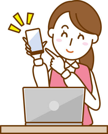 Image illustration of an office lady who has a smartphone (laptop)