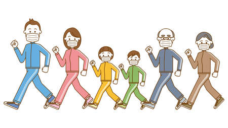 Image illustration of a family of three generations walking wearing a mask  イラスト・ベクター素材