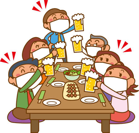Illustration of a drinking party at work (wearing a mask)