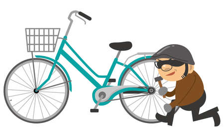 Image illustration of a thief stealing a bicycle
