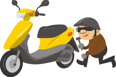 Image illustration of a thief stealing a scooter