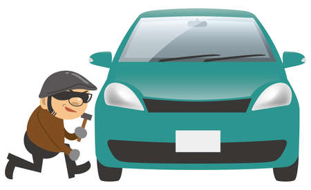 Image illustration of a thief stealing a car