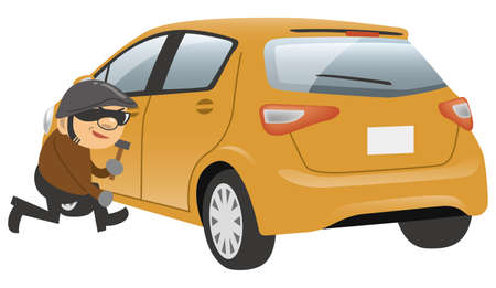 Image illustration of a thief stealing a car (back diagonal orientation)