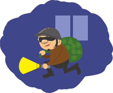Image illustration of a thief sneaking into the middle of the night