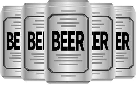 Image illustration of canned beer arranged side by side