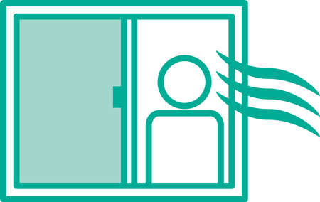 Image illustration icon with windows open and ventilation