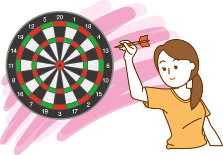 Image illustration of a woman aiming at the target of darts  イラスト・ベクター素材
