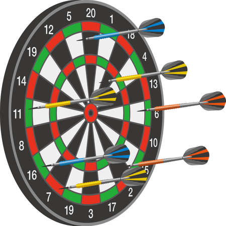 Image illustration of dartboard with arrows stuck randomly