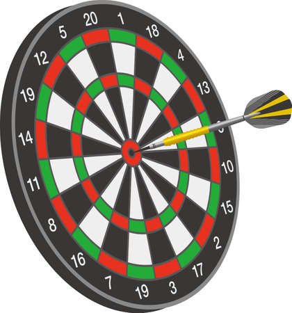 An arrow stuck in the middle of a dartboard