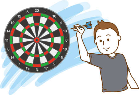 Image illustration of a man aiming at the target of darts