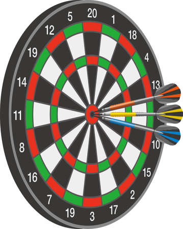Three arrows stuck in the middle of a dartboard