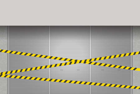 Image illustration of closed shutter and off-limits line