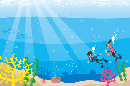 Clear and beautiful sea and scuba diver image illustration