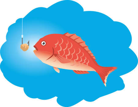 Image illustration of a fish (sea bream) that seems to be caught  イラスト・ベクター素材