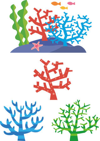 Colorful coral image illustration set  イラスト・ベクター素材