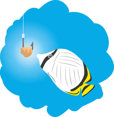 Image illustration of a fish (tropical fish) that seems to be caught