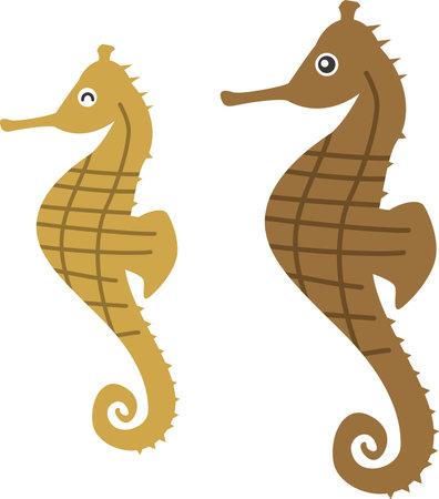 Seahorse Image Illustration (Parent and Child)  イラスト・ベクター素材