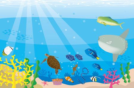 Sea creatures. Under the sea image illustration