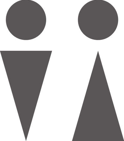 Simple icon of toilet mark (man and woman) (black)  イラスト・ベクター素材