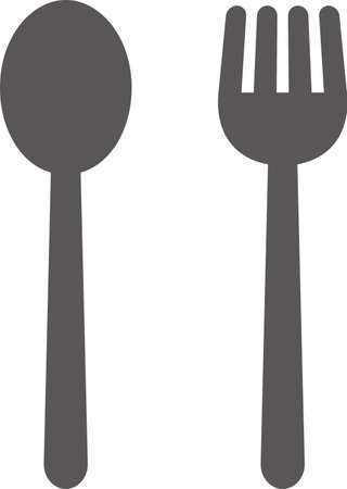Simple icon of restaurant (spoon and fork) (black)  イラスト・ベクター素材