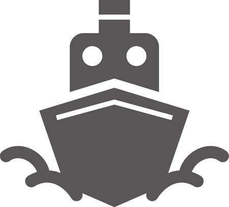 Ship's simple icon (black) (front)