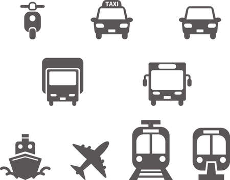 Simple icon. Traffic-related mark set (front) (black)