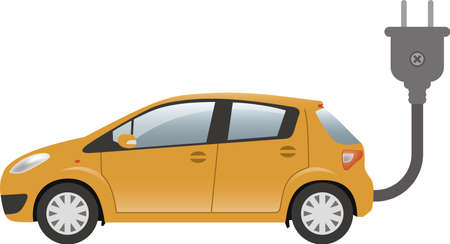 Image illustration of electric car and plug (side)