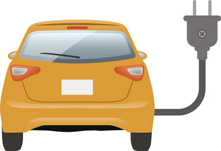 Image illustration of electric car and plug (back)