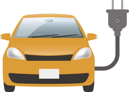 Image illustration of electric car and plug (front)