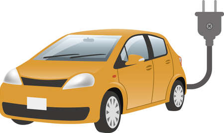 Image illustration of electric car and plug (diagonal front)