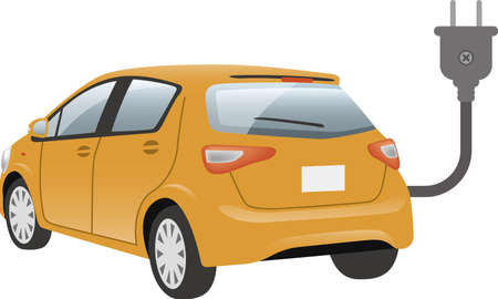 Image illustration of electric car and plug (diagonally behind)