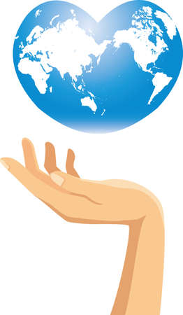 Image illustration of a hand with a heart-shaped earth