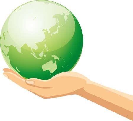 Image illustration of a hand having the earth  イラスト・ベクター素材