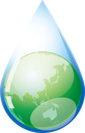 Green earth in water droplets (image illustration)