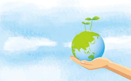 Image illustration of hand and sky with earth with new buds