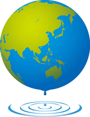 Image illustration of earth and ripples (drop) Eco image