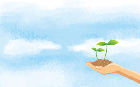 Image illustration of hand and sky with soil with new buds  イラスト・ベクター素材