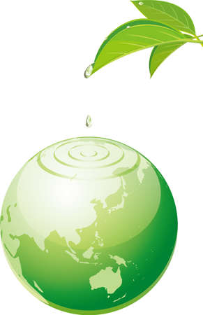 Image illustration of drops falling from leaves to earth